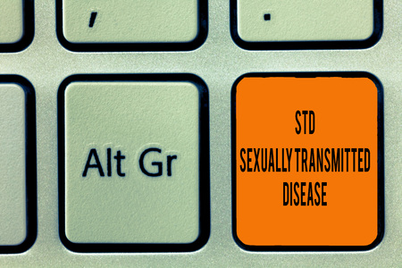 Handwriting text writing Std Sexually Transmitted Disease. Concept meaning Infection spread by sexual intercourse.