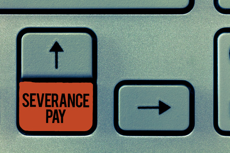 Handwriting text Severance Pay. Concept meaning Amount paid to an employee on the termination of a contract. Stock Photo