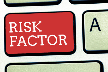 Text sign showing Risk Factor. Conceptual photo Something that rises the chance of a demonstrating developing a disease. 스톡 콘텐츠