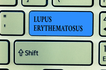 Handwriting text writing Lupus Erythematosus. Concept meaning inflammatory condition caused by an autoimmune disease. 스톡 콘텐츠