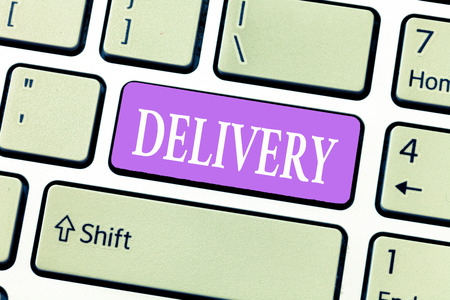 Conceptual hand writing showing Delivery. Business photo showcasing action of delivering letters parcels or goods Giving birth.