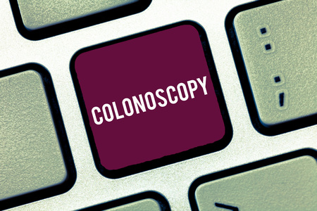 Handwriting text writing Colonoscopy. Concept meaning Endoscopic examination of the large bowel Colon diagnosis.