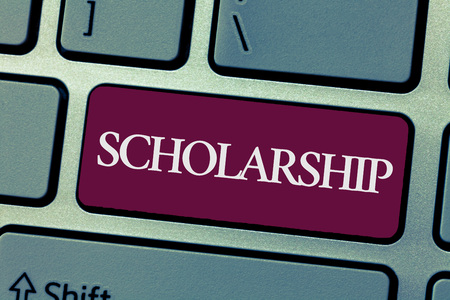 Handwriting text writing Scholarship. Concept meaning Grant or Payment made to support education Academic Study.