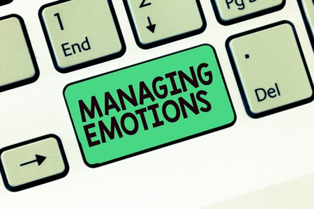 Writing note showing Managing Emotions. Business photo showcasing Controlling feelings in oneself Maintain composure. Foto de archivo - 110258693