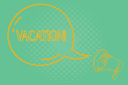 Conceptual hand writing showing Vacation. Business photo showcasing Period spent away from home or business Travel Recreation.