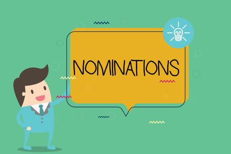 Escribir nota mostrando nominaciones. Foto de negocios mostrando sugerencias de alguien o algo para un puesto de trabajo o premio.