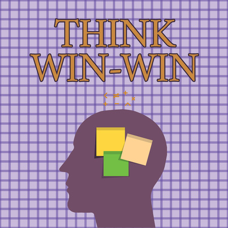 Conceptual hand writing showing Think Win Win. Business photo showcasing Agreements or solutions are mutually beneficial and satisfying.