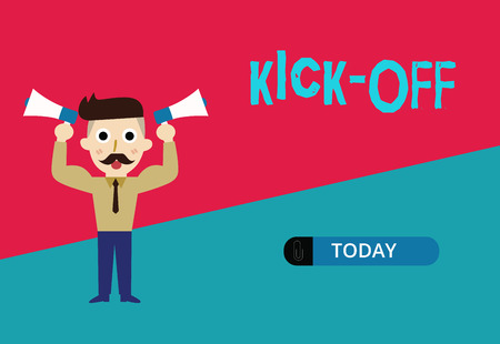 Conceptual hand writing showing Kick Off. Business photo showcasing start or resumption of football match in which player kicks ball. Imagens