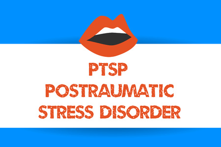 Writing note showing Ptsd Postraumatic Stress Disorder. Business photo showcasing Serious mental condition Emotional Stress.