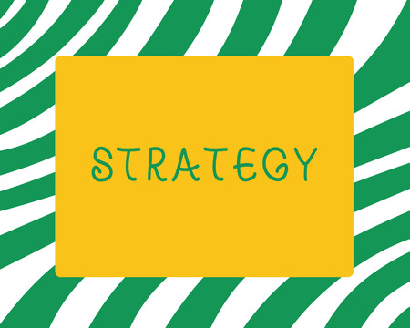 Handwriting text Strategy. Concept meaning plan of action designed to achieve long term or overall aim. Stock Photo - 110257960