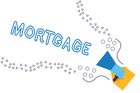Word writing text Mortgage. Business concept for agreement by which bank lends money interest exchange for property. Stok Fotoğraf