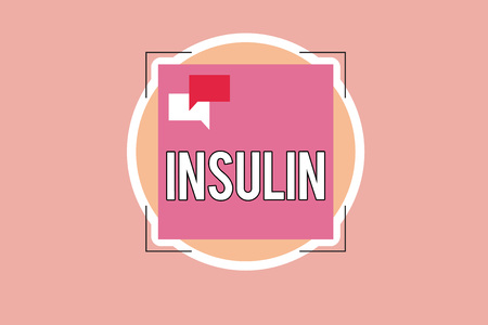 Writing note showing Insulin. Business photo showcasing Protein pancreatic hormone Regulates the glucose in the blood. Banco de Imagens - 110258102