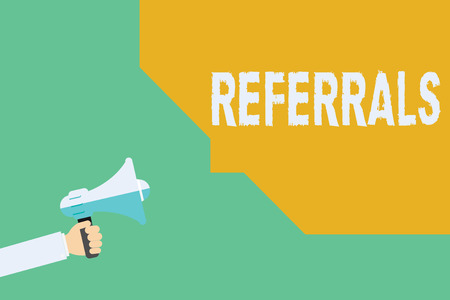 Conceptual hand writing showing Referrals. Business photo showcasing Act of referring someone or something for consultation review.