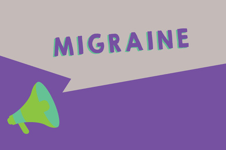 Text sign showing Migraine. Conceptual photo recurrent throbbing headache that affects one side of head.
