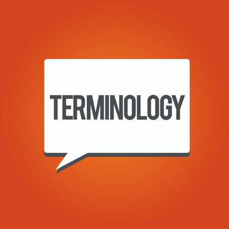 La scrittura della nota mostra la terminologia. Foto aziendale che mostra i termini utilizzati con particolare applicazione tecnica negli studi. Archivio Fotografico