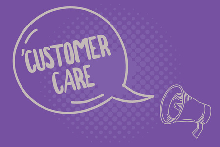 Text sign showing Customer Care. Conceptual photo Process of eyeing clients to best ensure their satisfaction. Stock Photo