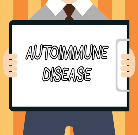 Word writing text Autoimmune Disease. Business concept for Unusual antibodies that target their own body tissues. 스톡 콘텐츠