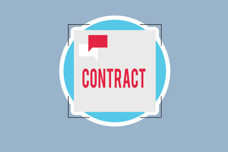 Handwriting text Contract. Concept meaning written or spoken agreement especially one concerning employment.