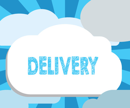 Writing note showing Delivery. Business photo showcasing action of delivering letters parcels or goods Giving birth. Stok Fotoğraf