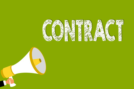 Word writing text Contract. Business concept for written or spoken agreement especially one concerning employment Man holding megaphone loudspeaker green background message speaking loud Reklamní fotografie