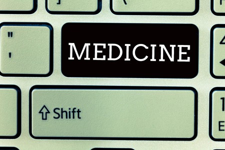 Text sign showing Medicine. Conceptual photo A substance or preparation used in treating disease Pills.