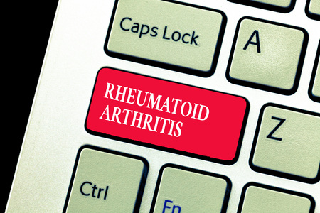Handwriting text writing Rheumatoid Arthritis. Concept meaning autoimmune disease that can cause joint pain and damage.