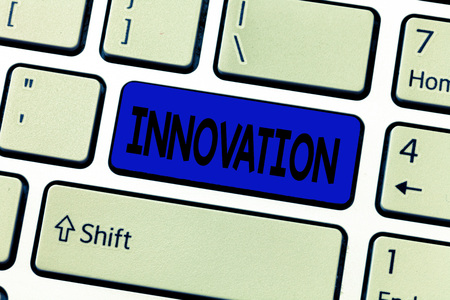 Text sign showing Innovation. Conceptual photo New method idea product Different Creative Not known before.