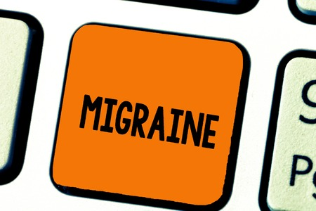 Writing note showing Migraine. Business photo showcasing recurrent throbbing headache that affects one side of head.