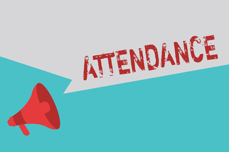Word writing text Attendance. Business concept for Going regularly Being present at place or event Number of showing. Stock Photo