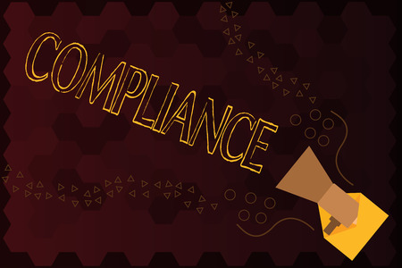 Handwriting text Compliance. Concept meaning Action Fact of complying with wish or comanalysisd rules following. Stock Photo