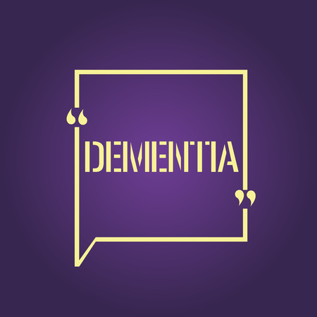 Text sign showing Dementia. Conceptual photo Impairment in memory Loss of cognitive functioning Brain disease.
