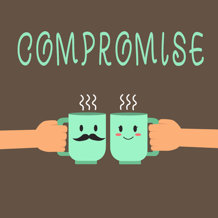 Word writing text Compromise. Business concept for Come to agreement by mutual concession Give Reveal Expose.