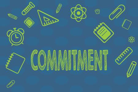 Konzeptionelle Handschrift zeigt Engagement. Geschäftsfototext Qualität des Engagements für Aktivitätsengagement. Standard-Bild