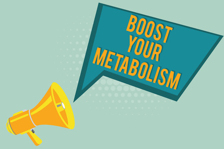 Text sign showing Boost Your Metabolism. Conceptual photo Increase the efficiency in burning body fats. Foto de archivo