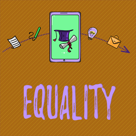Text sign showing Equality. Conceptual photo state of being equal especially in status rights or opportunities.