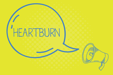 Word writing text Heartburn. Business concept for Irritation of the esophagus Acid reflux Burning pain in the chest.