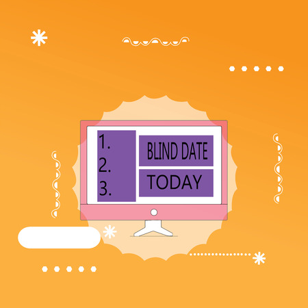 Word writing text Blind Date. Business concept for Social engagement with a demonstrating one has not previously met.