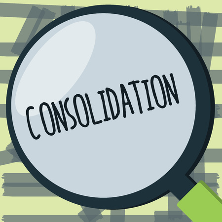 Writing note showing Consolidation. Business photo showcasing Action or process of making something stronger or more solid. Stock Photo