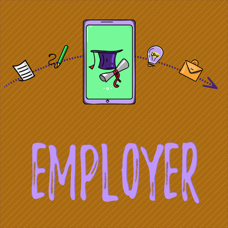 Text sign showing Employer. Conceptual photo demonstrating or organization that employs showing for period of time. 스톡 콘텐츠