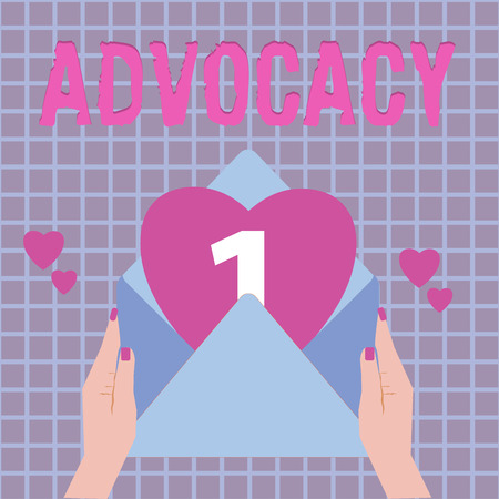 Text sign showing Advocacy. Conceptual photo Profession of legal advocate Lawyer work Public recommendation.