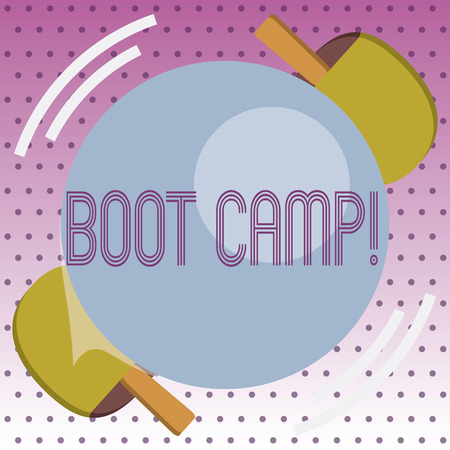 Handwriting text Boot Camp. Concept meaning Military training camp for new recruits Harsh discipline Fitness. Archivio Fotografico