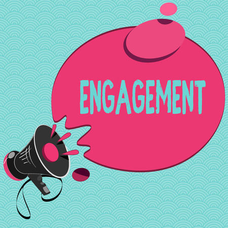 Conceptual hand writing showing Engagement. Business photo showcasing Formal agreement to get married arrangement for doing something.