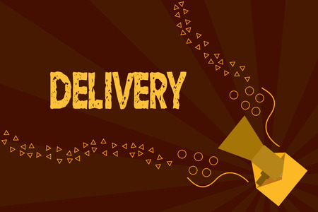 Text sign showing Delivery. Conceptual photo action of delivering letters parcels or goods Giving birth.
