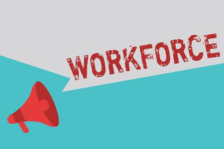 Wort schreiben Text Belegschaft. Geschäftskonzept für die Gruppe, die zeigen, wer in einem Unternehmen arbeitet Mitarbeiter Huanalysis Resources.