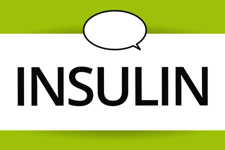 Word writing text Insulin. Business concept for Protein pancreatic hormone Regulates the glucose in the blood. Banco de Imagens - 110433057