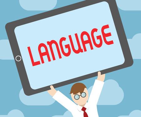 Text sign showing Language. Conceptual photo method huanalysis communication either spoken written consisting words. Reklamní fotografie