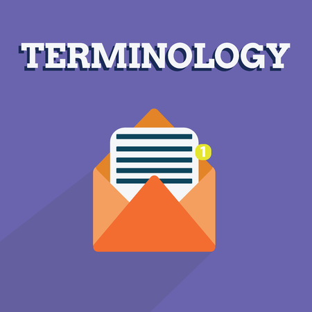 Writing note showing Terminology. Business photo showcasing Terms used with particular technical application in studies.