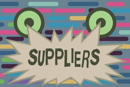 Text sign showing Suppliers. Conceptual photo Providers of something needed like goods equipment products. Banque d'images - 110433806