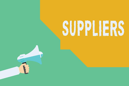 Conceptual hand writing showing Suppliers. Business photo showcasing Providers of something needed like goods equipment products.