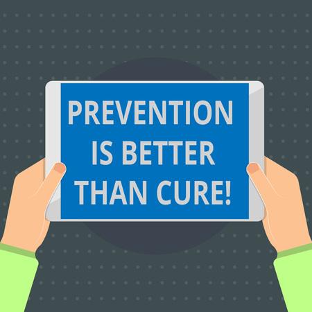 Textschild, das anzeigt, dass Vorbeugen besser ist als heilen. Konzeptionelle Fotokrankheit ist vermeidbar, wenn sie früher erkannt wird. Standard-Bild